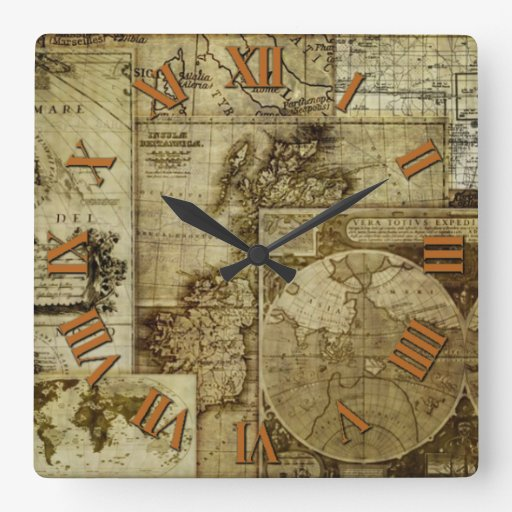 Antique and Vintage Old world maps Square Wall Clock