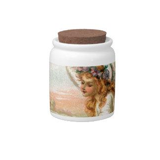 Antique Angel Feeding A Lamb Candy Jar