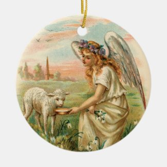 Antique Angel Feeding a Lamb Holiday Ornament