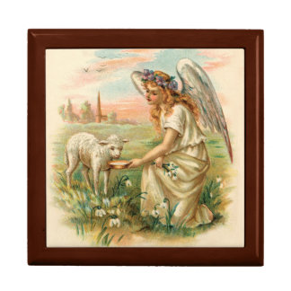 Antique Angel Feeding A Lamb Jewelry Box
