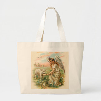 Antique Angel Feeding A Lamb Large Tote Bag