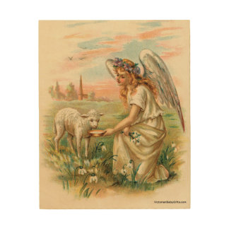 Antique Angel Feeding A Lamb Wood Wall Decor