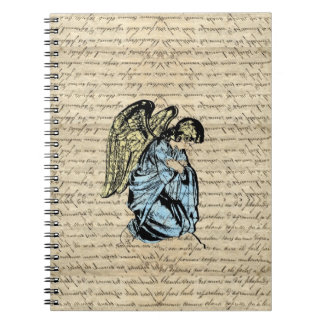 Antique angel illustration  on vintage paper notebook