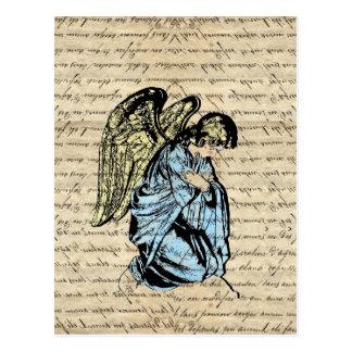Antique angel illustration  on vintage paper postcard