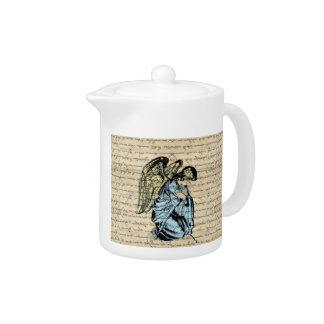 Antique angel illustration  on vintage paper teapot