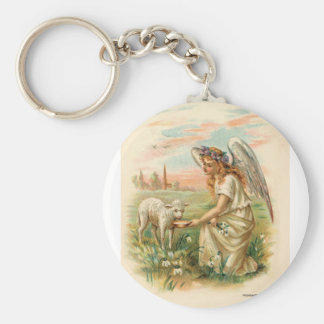 Antique Angel With Lamb Basic Round Button Keychain