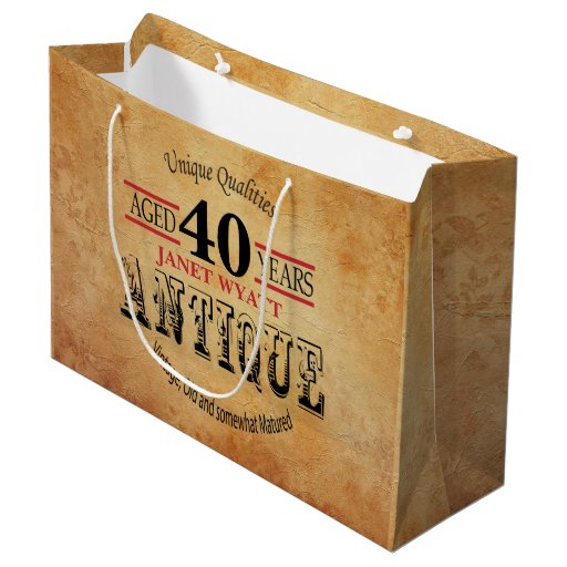 Antique Any Age Birthday Large Gift Bag