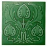 """Antique Art Nouveau Green Majolica Repro Tile<br><div class=""""desc"""">The Art Nouveau style began in the last decade of the 19th century and lasted until WWI. Art Nouveau is,  in many ways,  an outgrowth of the Arts &amp; Crafts movement.  Art Nouveau tiles feature stylized designs with flowing curves based on natural forms.</div>"""