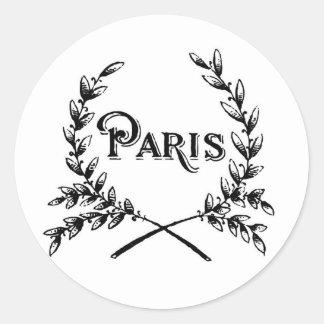 Antique Art Nouveau Paris Wreath Logo Classic Round Sticker