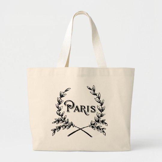 Antique Art Nouveau Paris Wreath Logo Large Tote Bag