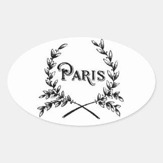 Antique Art Nouveau Paris Wreath Logo Oval Sticker