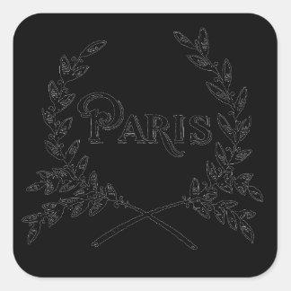 Antique Art Nouveau Paris Wreath Logo Square Sticker