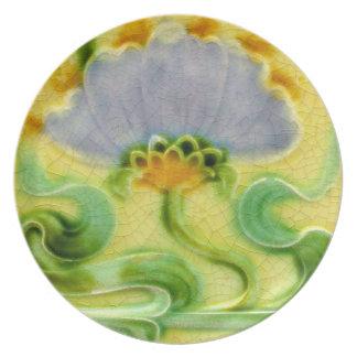 Antique Art Nouveau Wall Tile Plastic Picnic Plate