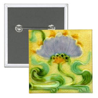 Antique Art Nouveau Wall Tile Vintage Arts Crafts Pinback Button