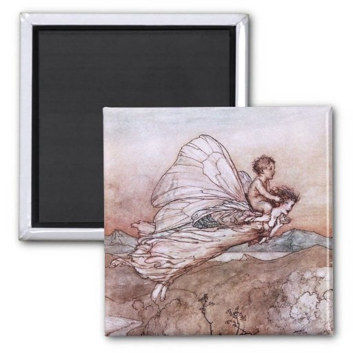 Antique Arthur Rackham Fairy Illustration 2 Inch Square Magnet