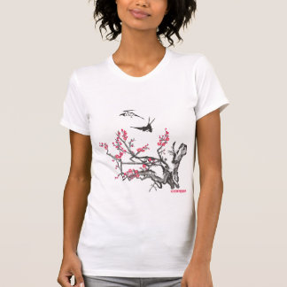 Antique Asian Cherry Woodcut With Sparrows T-shirt