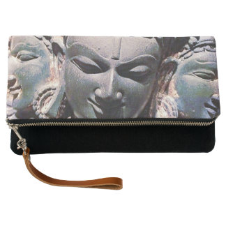 Antique Asian Stone Face Statue Carving Photo Clutch