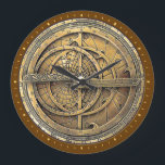 """Antique Astrolabe 2 Large Clock<br><div class=""""desc"""">The Astrolabe graces the face of the clock. An ancient astronomical computer used for solving problems relating to time and the position of the Sun and stars in the sky. Perfect theme for timekeeping.</div>"""