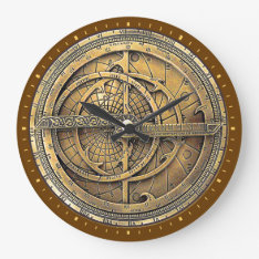 Antique Astrolabe 2 Large Clock at Zazzle