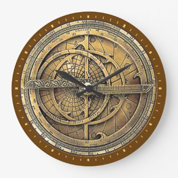 Antique Astrolabe 2 Large Clock by tempera70 at Zazzle