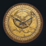 """Antique Astrolabe Clock<br><div class=""""desc"""">The Astrolabe graces the face of the clock. An ancient astronomical computer used for solving problems relating to time and the position of the Sun and stars in the sky. Perfect theme for timekeeping.</div>"""