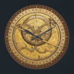 "Antique Astrolabe Clock<br><div class=""desc"">The Astrolabe graces the face of the clock. An ancient astronomical computer used for solving problems relating to time and the position of the Sun and stars in the sky. Perfect theme for timekeeping.</div>"