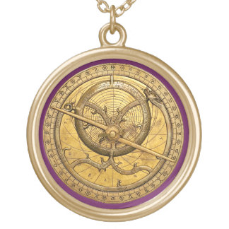 Antique Astrolabe Gold Finish Round Necklace