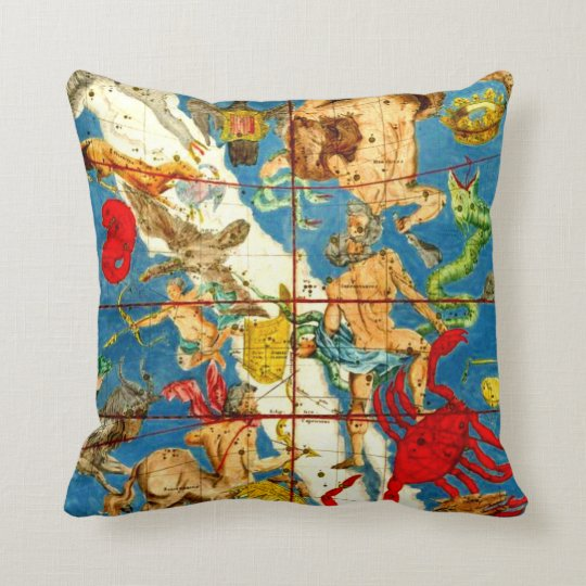 Antique Astrology Astronomy Sky Maps Vintage Art Throw Pillow