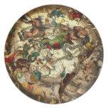 Antique Astrology Horoscope Map Art Vintage Wall Plates