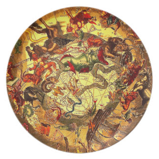 Antique Astrology Mythology Map Art Vintage Wall Dinner Plate