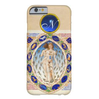 ANTIQUE ASTROLOGY,ZODIACAL SIGNS BLUE GEM MONOGRAM BARELY THERE iPhone 6 CASE