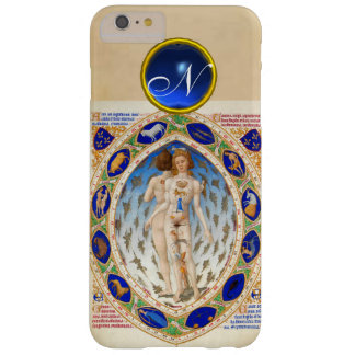 ANTIQUE ASTROLOGY,ZODIACAL SIGNS BLUE GEM MONOGRAM BARELY THERE iPhone 6 PLUS CASE