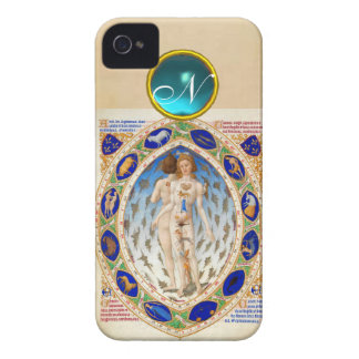 ANTIQUE ASTROLOGY,ZODIACAL SIGNS BLUE GEM MONOGRAM Case-Mate iPhone 4 CASE