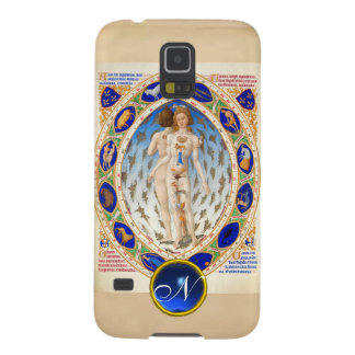 ANTIQUE ASTROLOGY,ZODIACAL SIGNS BLUE GEM MONOGRAM GALAXY S5 COVERS