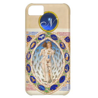 ANTIQUE ASTROLOGY,ZODIACAL SIGNS BLUE GEM MONOGRAM iPhone 5C COVER