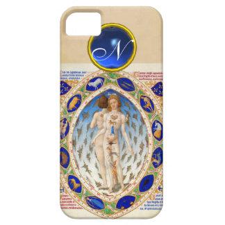 ANTIQUE ASTROLOGY,ZODIACAL SIGNS BLUE GEM MONOGRAM iPhone SE/5/5s CASE