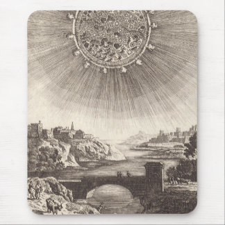 Antique Astronomy Celestial Sky with Sun by Mallet Mouse Pad