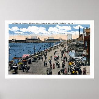 Antique Atlantic City New Jersey Boardwalk Poster