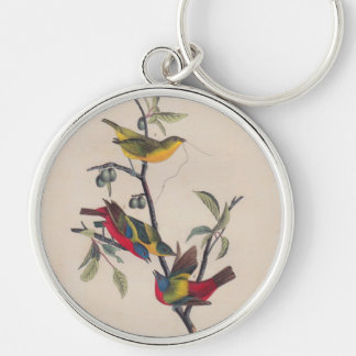 Antique Audubon Painted Bunting Bird Silver-Colored Round Keychain