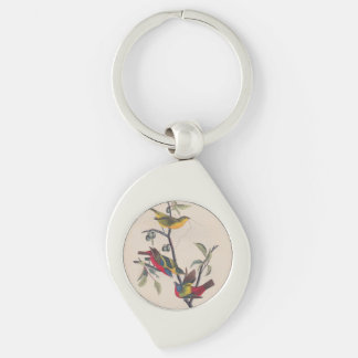 Antique Audubon Painted Bunting Bird Silver-Colored Swirl Metal Keychain