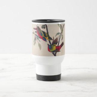Antique Audubon Painted Bunting Bird Travel Mug