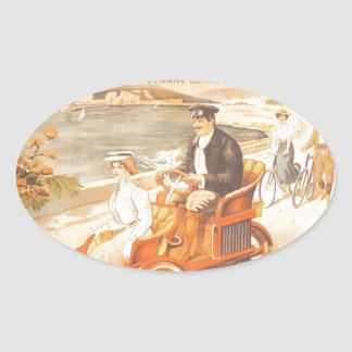 Antique automobile car French advertisement Oval Sticker