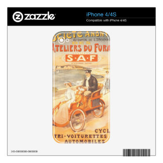 Antique automobile car French advertisement Decals For iPhone 4S