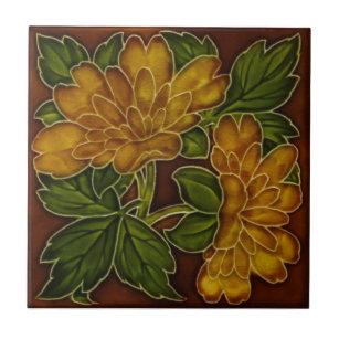 Antique Autumn Colors Floral Majolica Tile Repro