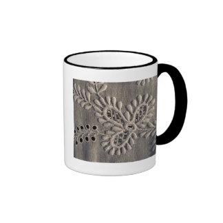 Antique Ayrshire Lace Embroidery Ringer Mug