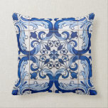"Antique Azulejo Tile Floral Pattern Throw Pillow<br><div class=""desc"">Antique Azulejo Tile Floral Pattern in blue and white transported to the surface of a pillow, preserving its history and tradition. Azulejo is a form of Portuguese or Spanish painted, tin-glazed, ceramic tilework. It has become a typical aspect of Portuguese culture. Portugal imported azulejo tiles from Spain, and their use...</div>"