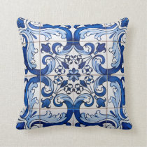 Antique Azulejo Tile Floral Pattern Throw Pillow