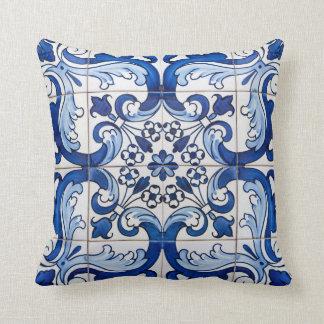Antique Azulejo Tile Floral Pattern Throw Pillow