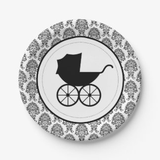Antique Baby Carriage Elegant Damask | Baby Shower Paper Plate