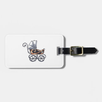 ANTIQUE BABY CARRIAGE TAG FOR LUGGAGE